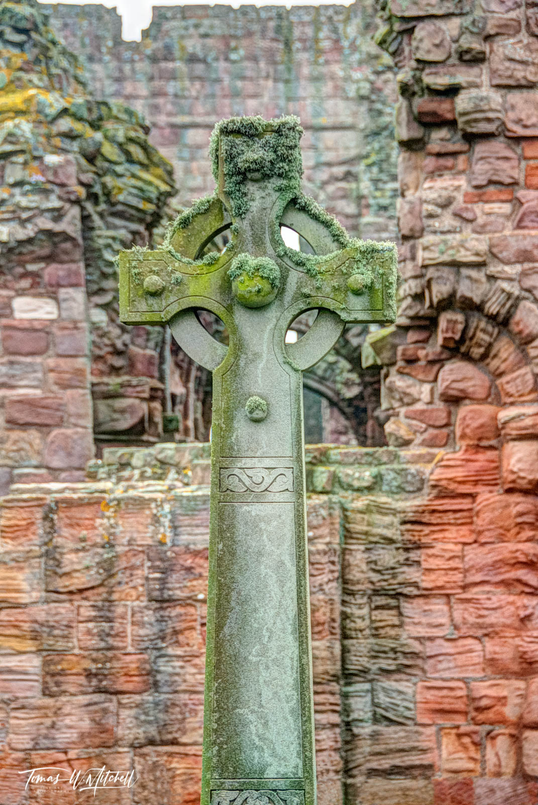 limited edition, museum grade, fine art, prints, celtic cross, lindisfarne, england, cross, priory, crosses, celtic, ancient, photograph, moss, red, rocks, photo