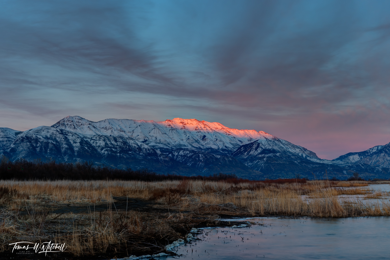 limited edition, fine art, prints, mount timpanogos, utah lake, mountain, winter, pink glow, sunset, photographs, photo
