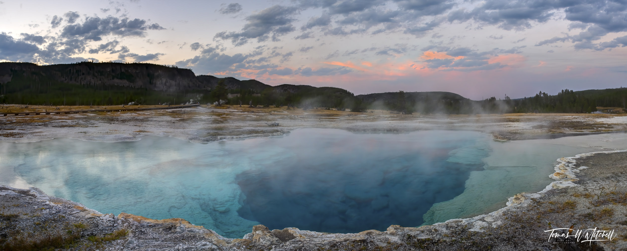 Sapphire Pool at sunset in Yellowstone national park