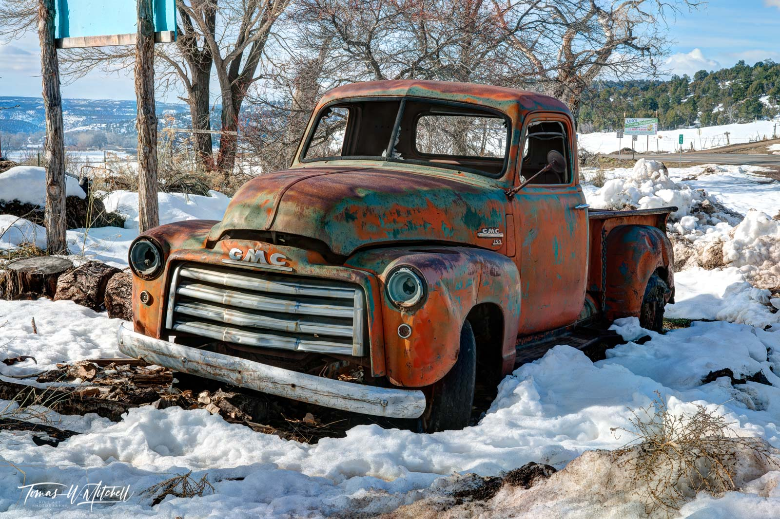 limited edition, fine art, prints, photograph, snow, orderville, Utah, old, gmc, truck, road, rusty, red, greenish, colorful, image, broken, abandoned, rural, america, photo