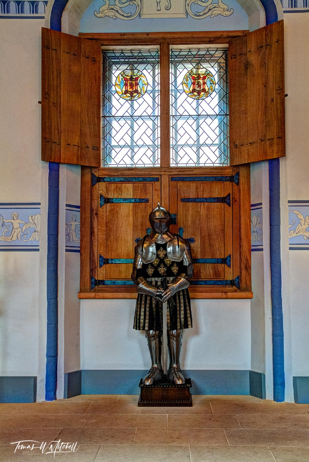 limited edition, fine art, prints, stirling, scotland, castle, armor, window, wooden shutters, blue trim, black, gold, tunic, photograph, knight, photo