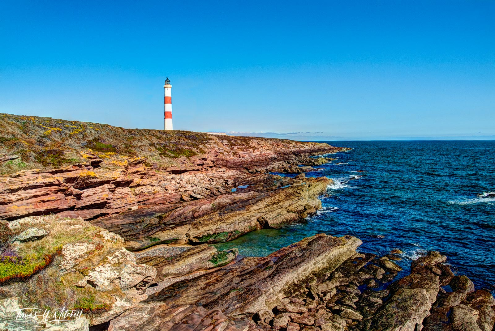 limited edition, museum grade, fine art, prints, tarbat ness, lighthouse, balnagown castle, scotland, sunny day, north sea, coast, peninsula, rugged, coastline, yellow, gorse, vivid, blue sky, blue, o, photo