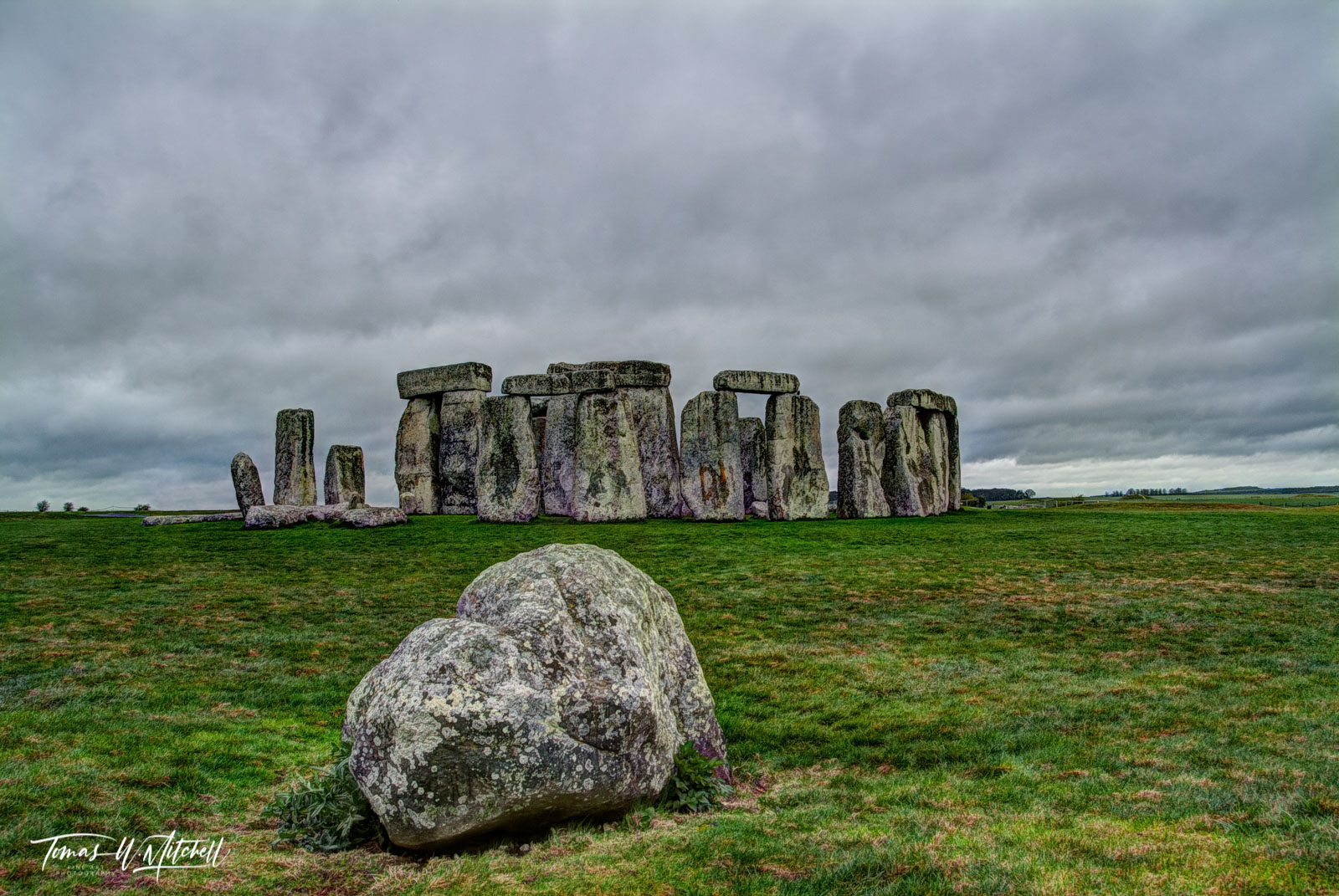 Stonehenge, England, ancient, fine art, museum grade, limited edition, photographing, overcast, rain, gloomy, clouds, green, grass, stones, mystic, mood, photo