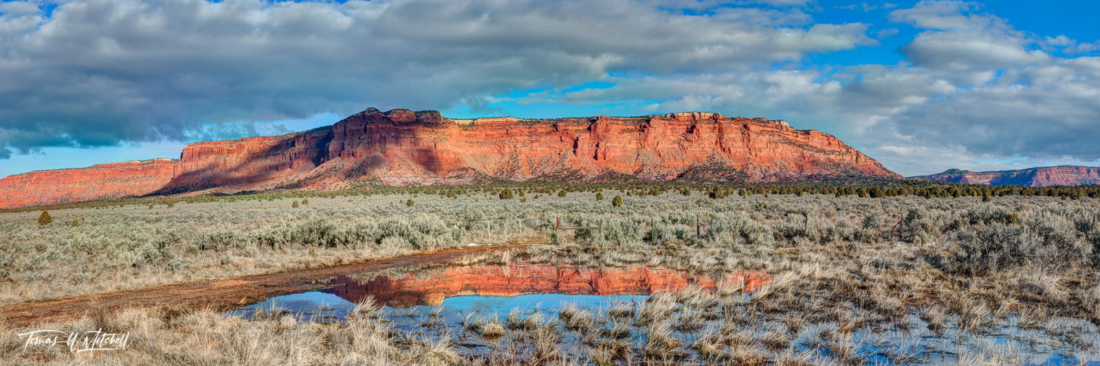 limited editions, fine art, prints, vermilion cliffs, reflection, US 89, kanab, page, arizona, utah, desert, usa, water, storm, clouds, cliffs, blue, cloudy, sky, panoramic, photo