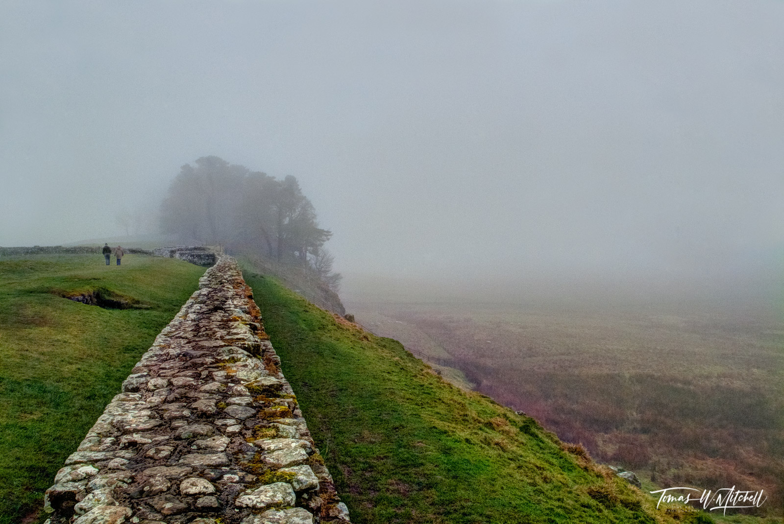 fine art, museum grade, prints, photographing, hadrian's wall, england, romans, stormy, color, wall, muted, walkers, tree, distance, photo