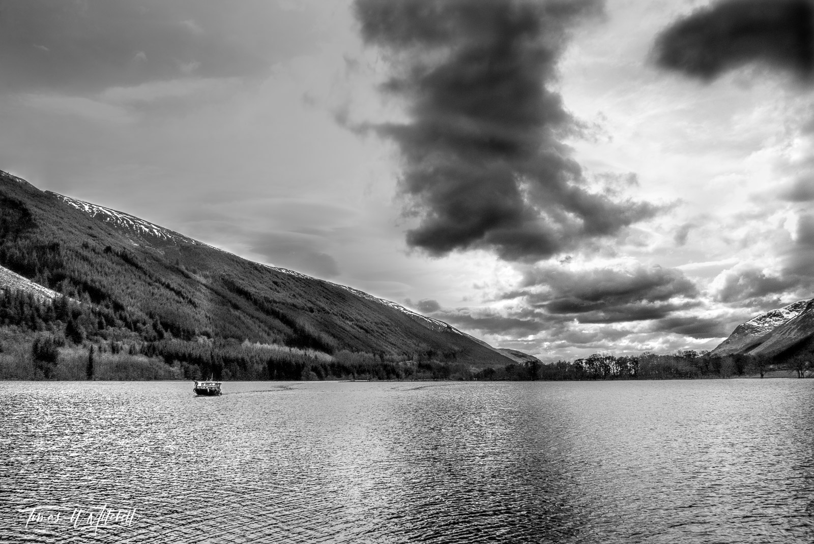 limited edition, fine art, prints, ceann loch, scotland, boat, water, caledonian canal, clouds, water, mountains, black and white, scottish, gaelic, photo