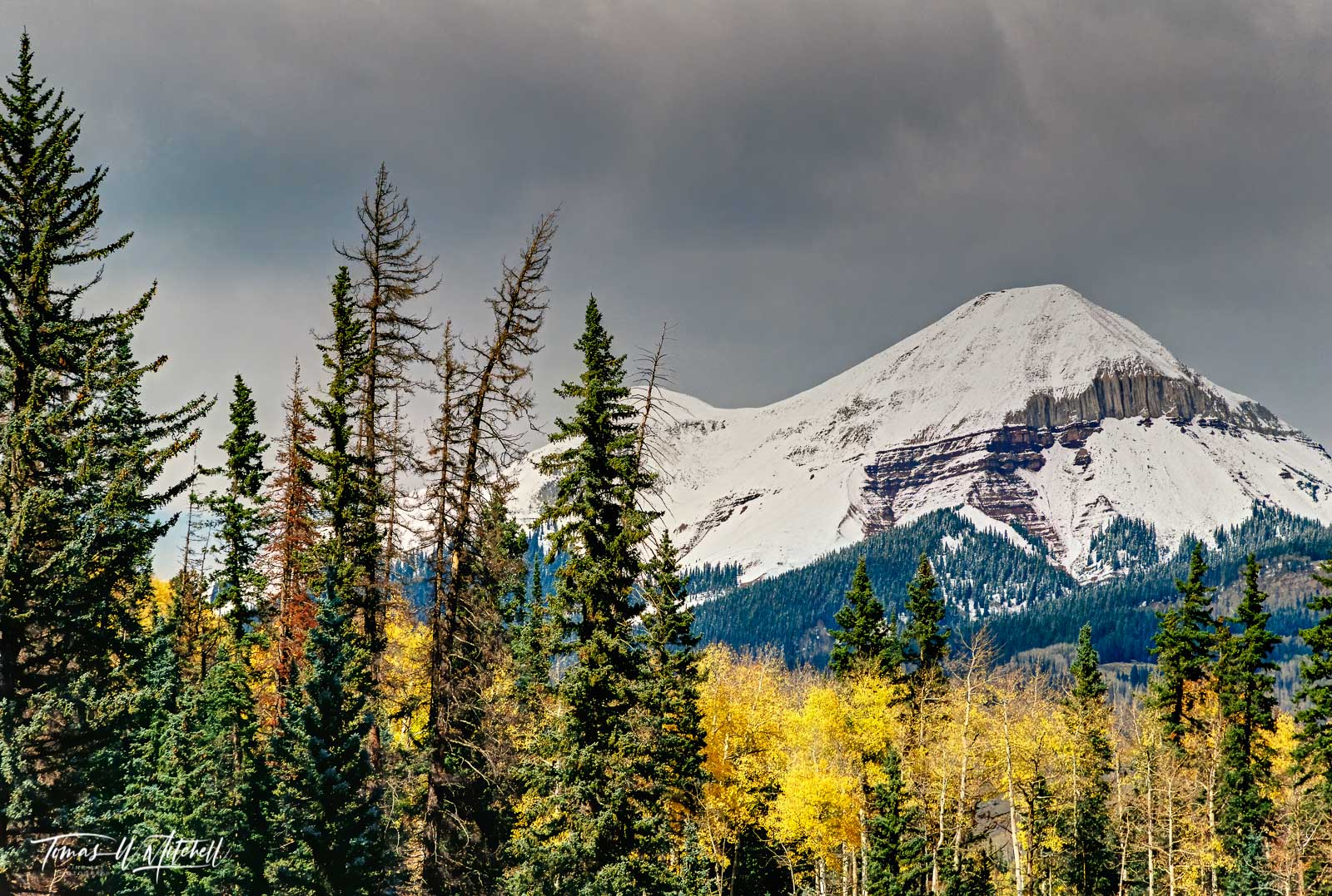 colorado, engineer mountain, film, limited edition, fine art, prints, photograph, nikon, stormy clouds, snowy mountain, sunlight, aspen, trees, evergreen, sky, mood, winter, autumn, photo