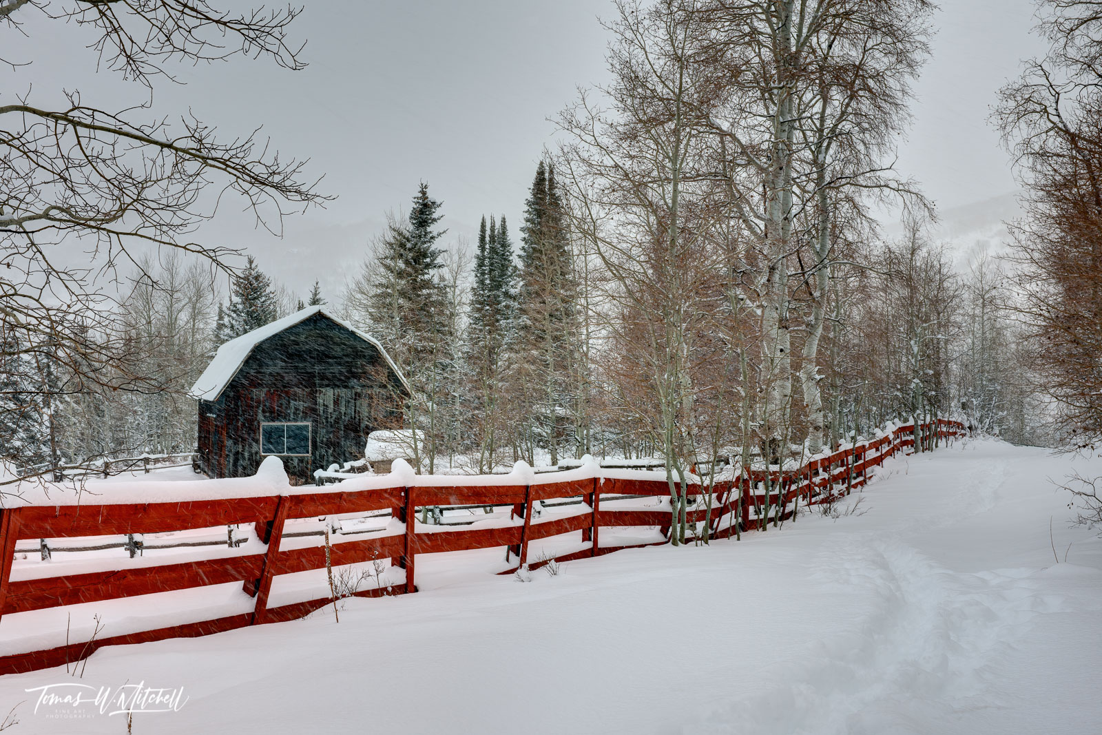 limited edition, fine art, prints, oakley utah, barn, storm, photograph, snow storm, red fence, barn, , photo
