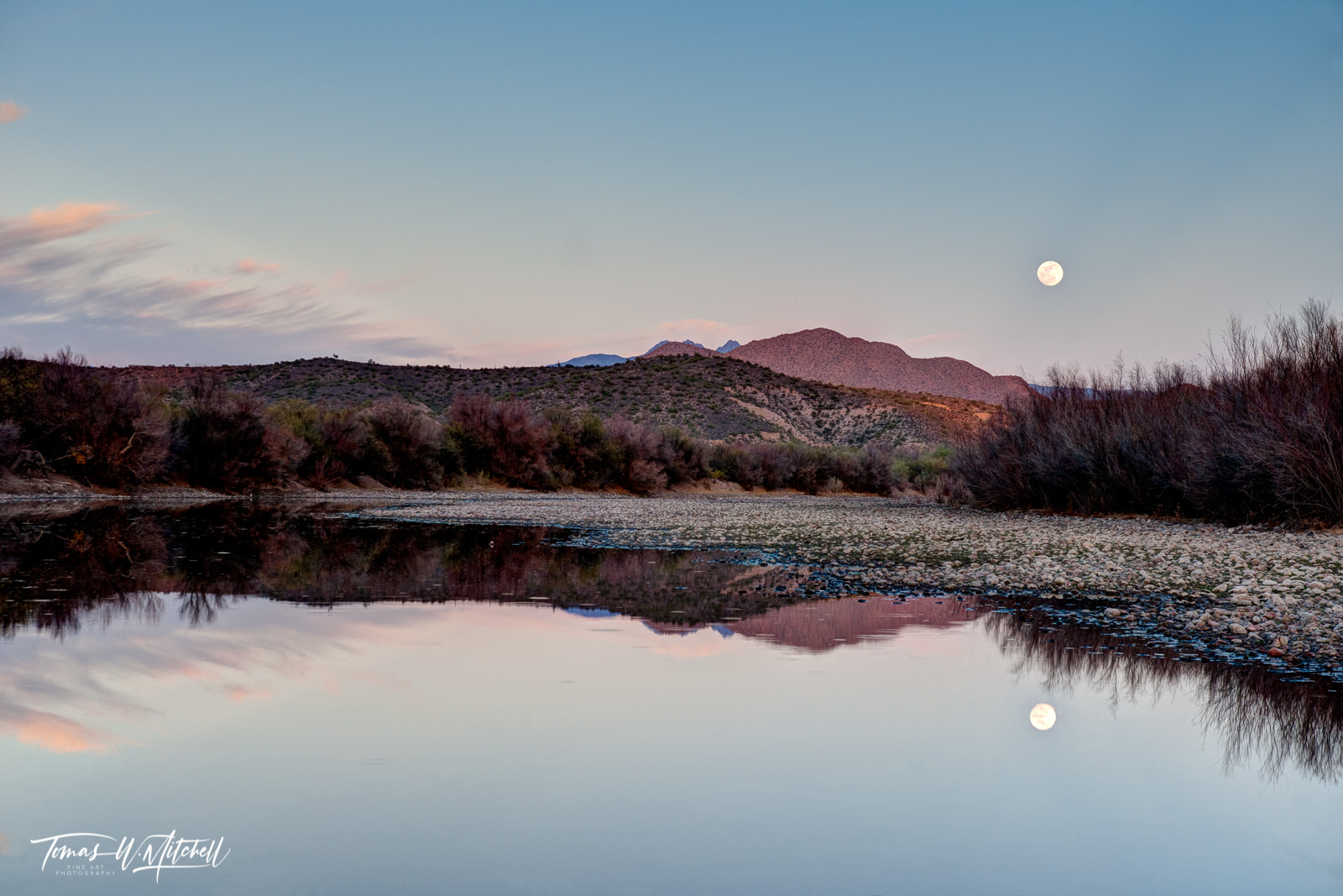 limited edition, fine art, prints, salt river, arizona, moon, light, mountain, reflection, clouds, rocks, trees, photo