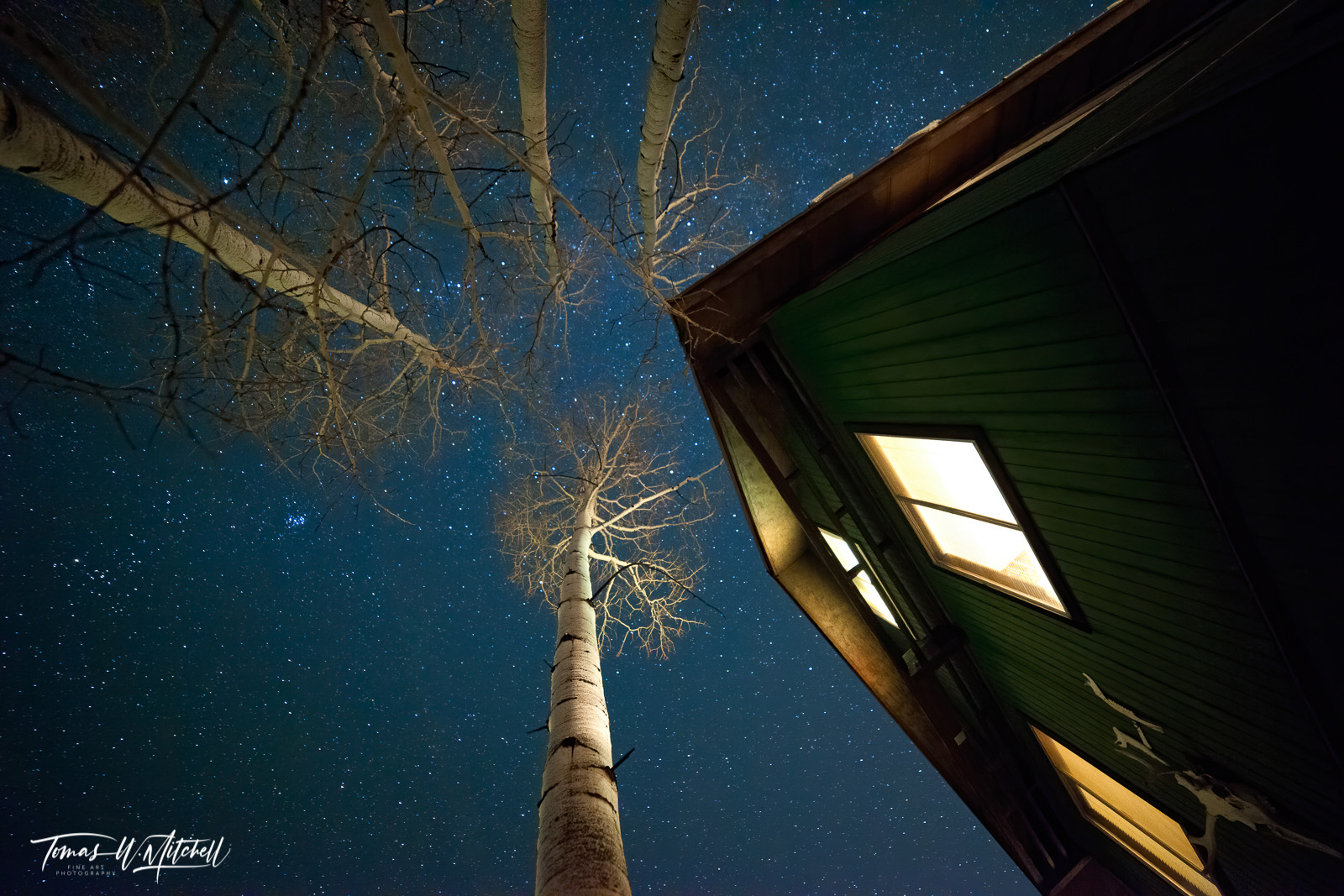 limited edition, fine art, prints, cabin, oakley, utah, photograph, night sky, quaking aspen, trees, blue, pleiades, winter, photo