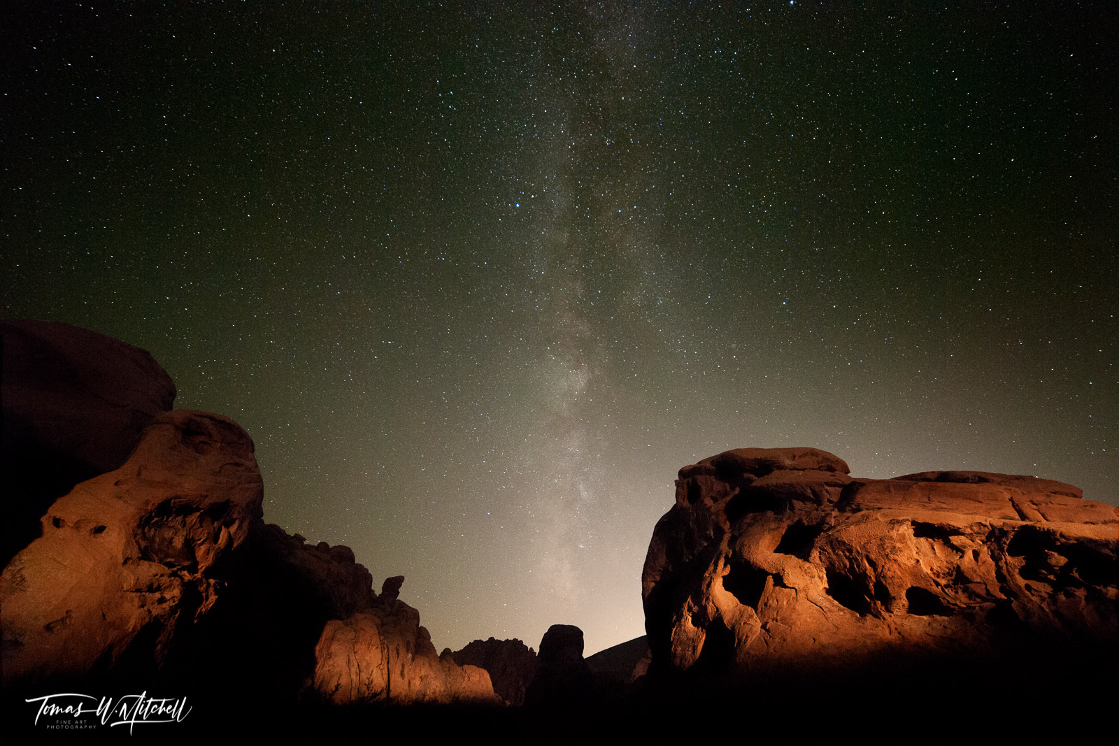 limited edition, fine art, prints, valley of fire, Nevada, photographing, sky, photographs, night sky, arch rock, glow, las vegas, milky way, rocks, red rocks, photo