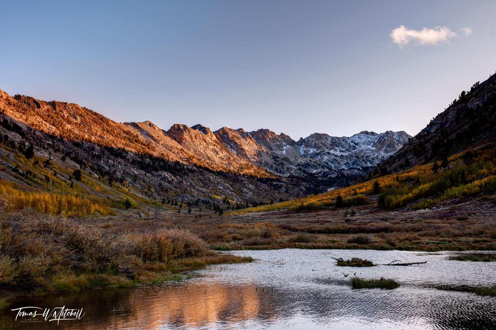 limited edition, museum grade, lamoille canyon, nevada, happy cloud, fall colors, snow, peaks, sky, mountains, water, photograph, aspen trees, bob ross, photo