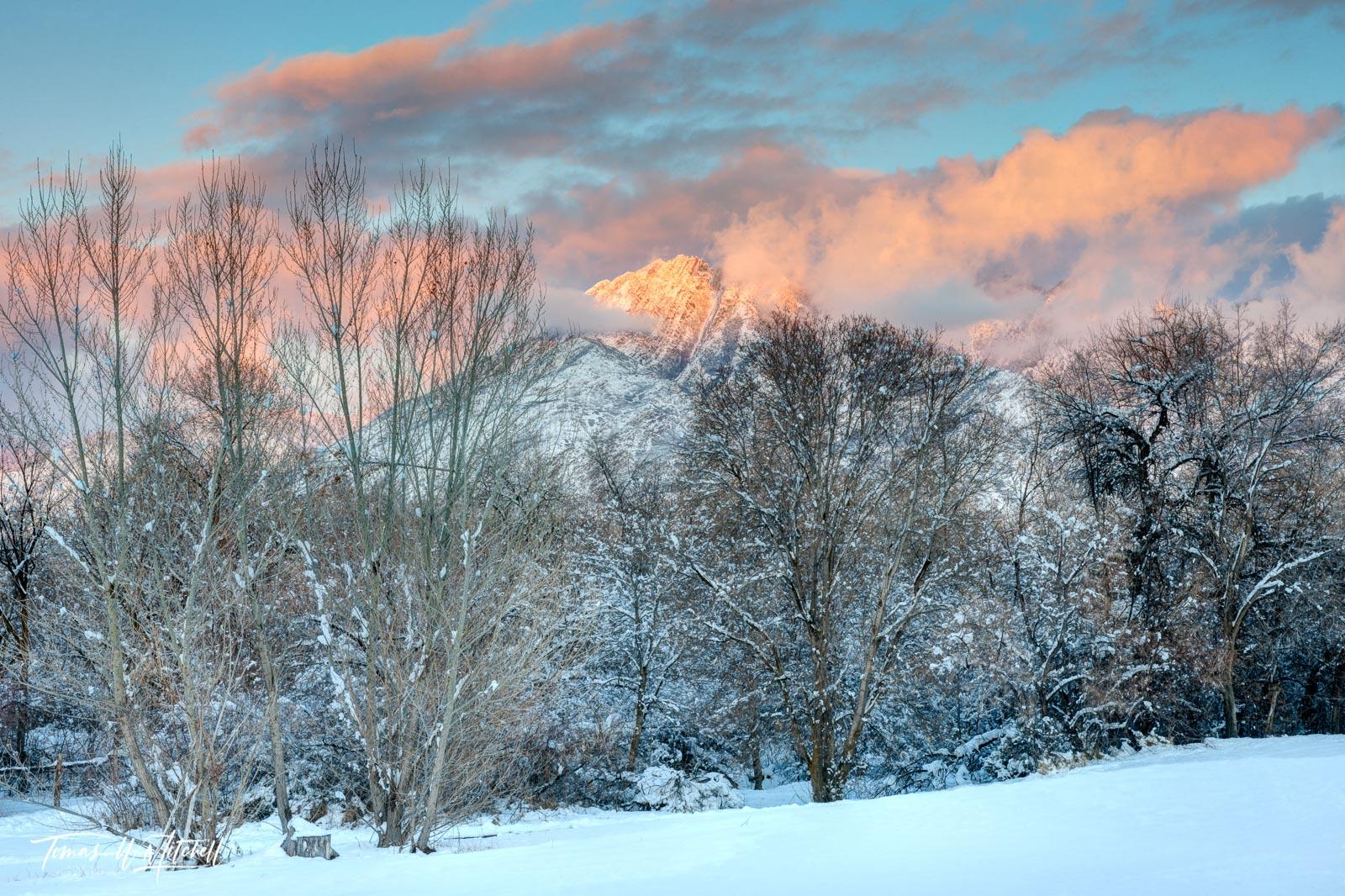 limited edition, fine art, prints, wheeler farm, utah, mount olympus, peaks, snow, clouds, sunset, afterglow, photograph, photo