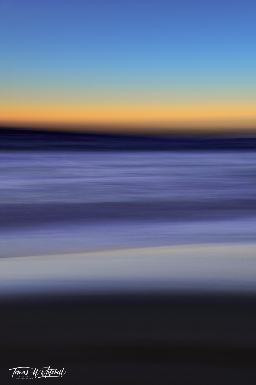 limited edition, fine art, prints, moody blues, photograph, pacific grove, california, sunset, abstract, ICM, photography, yellow, blue, ocean, photo