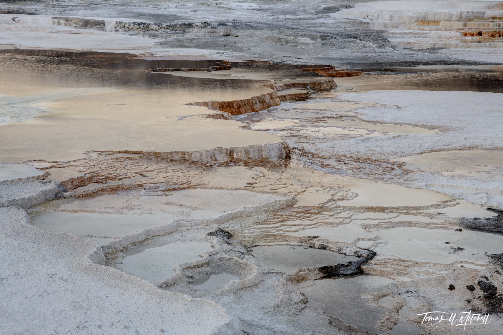 pools of water at Mammoth Hot springs Yellowstone