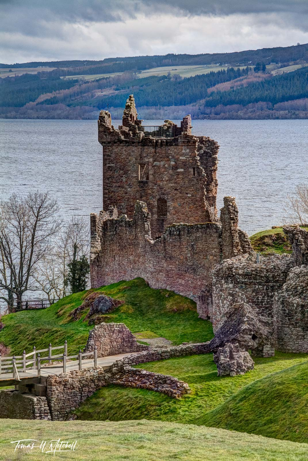 limited edition, fine art, prints urquhart, castle, loch ness, scotland, fortress, highlands, rock, loch, photograph, green, grass, cloudy, sky, bridge, path, rocks, waves, water, photo