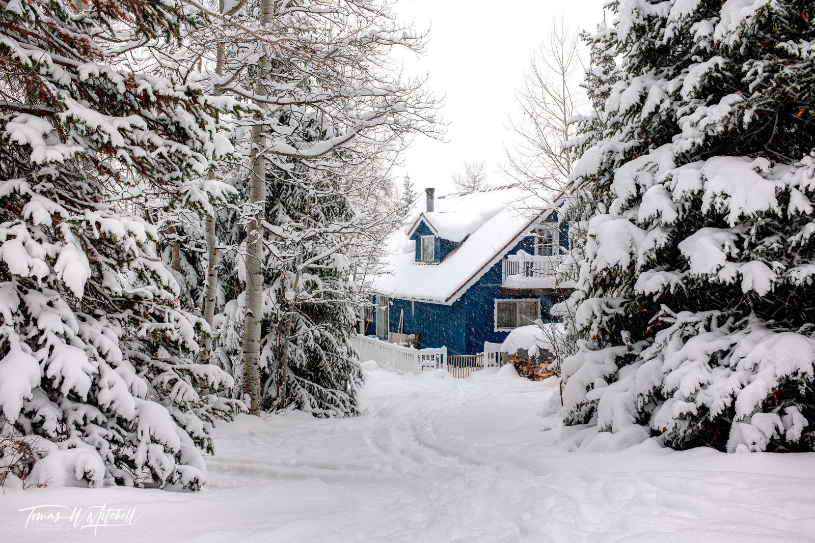 limited edition, fine art, prints, oakley utah, snowed inn, cottage, cabin, photograph, snow, blue, skis, snowflakes, storm, winter, trees, , photo