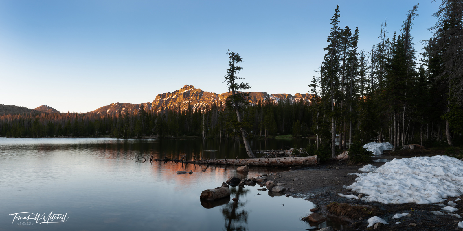 limited edition, fine art, prints, mirror lake, uinta mountains, utah, snow, campgrounds, panoramic, photograph, summer, hayden peak, forest, fir trees, photo