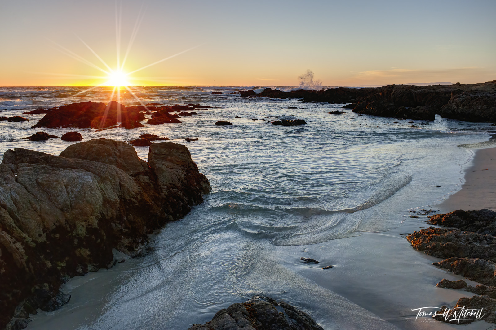 limited edition, fine art prints, asilomar state beach, california, monterey, pebble beach, sunset, waves, photo